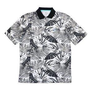 Greg Norman Golf Shirt Tropical Leaves Grey